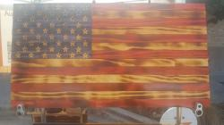 Wooden United States flags to hang over the fireplace or on the patio.